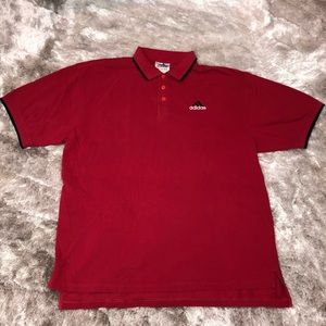 Vintage ADIDAS Logo Red Casual Polo Shirt XL